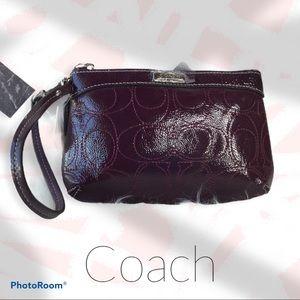 Coach Medium Patent Leather Plum Wristlet